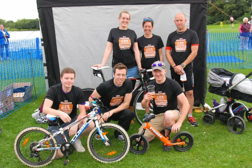 The team two teams that took part in the Sundowner Triathlon 2013, for Pryers, to raise money for the Stroke Association.