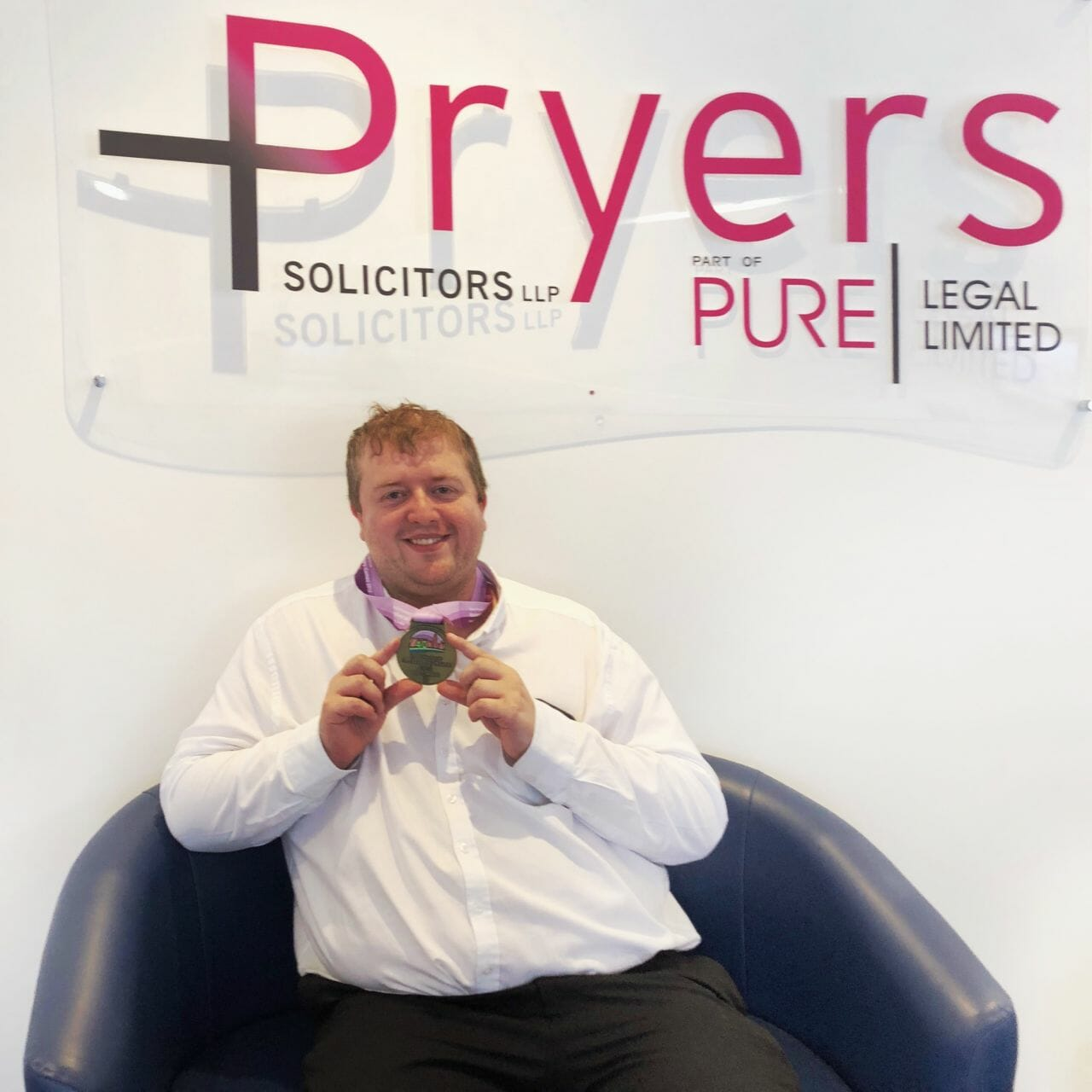 Mark Mason, Pryers' Olympic hero, with his gold medal from the Special Olympics -