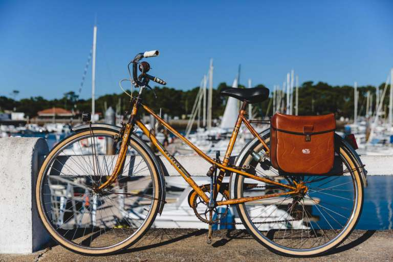 A Town bike, by a harbour