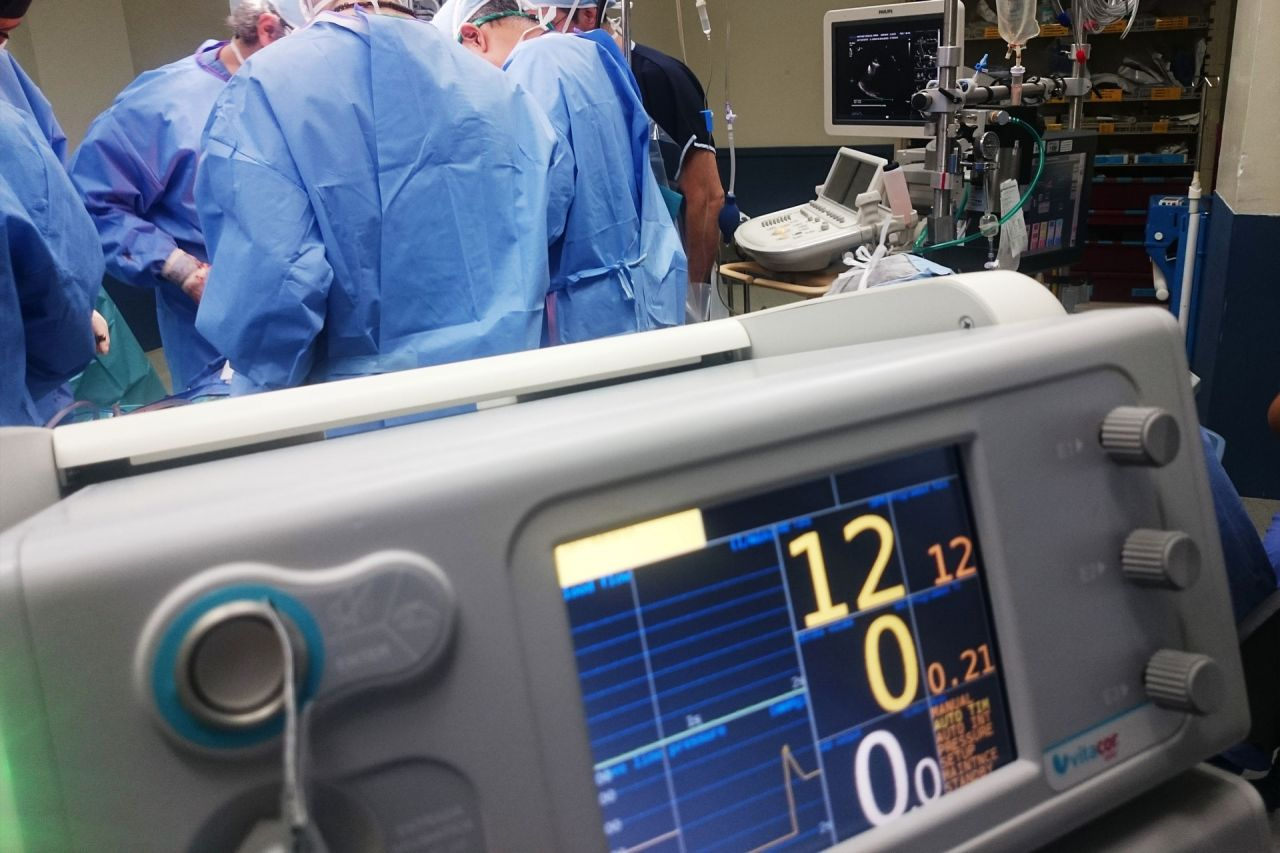 A photograph of a monitor in a hospital surgery to depict technology in healthcare
