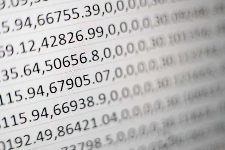 A photograph showing a lot of numbers, to depict digital data in helathcare