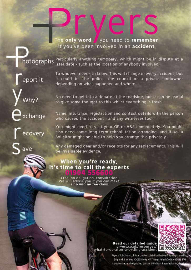 A flyer prepared by Pryers Solicitors about what do if you have been involved in a cycling accident.