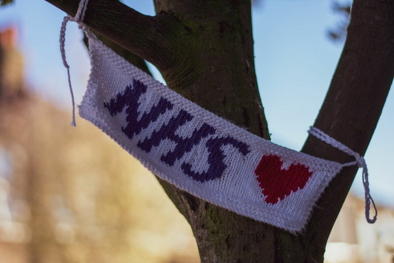 A scarf proclaiming love for the National Health Service, as the Government announce plans to extended the NHS bereavement scheme