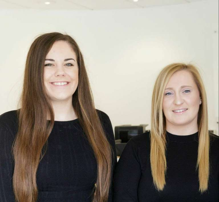 Hannah Cazaly and Laura Cates who both completed their training contracts at Pryers