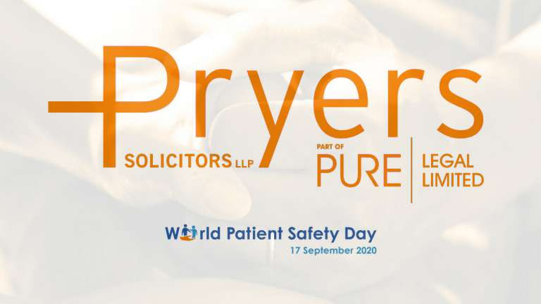 Pryers logo turned orange, to mark World Patient Safety Day in 2020. There is a very fain background photo of two people holding hands