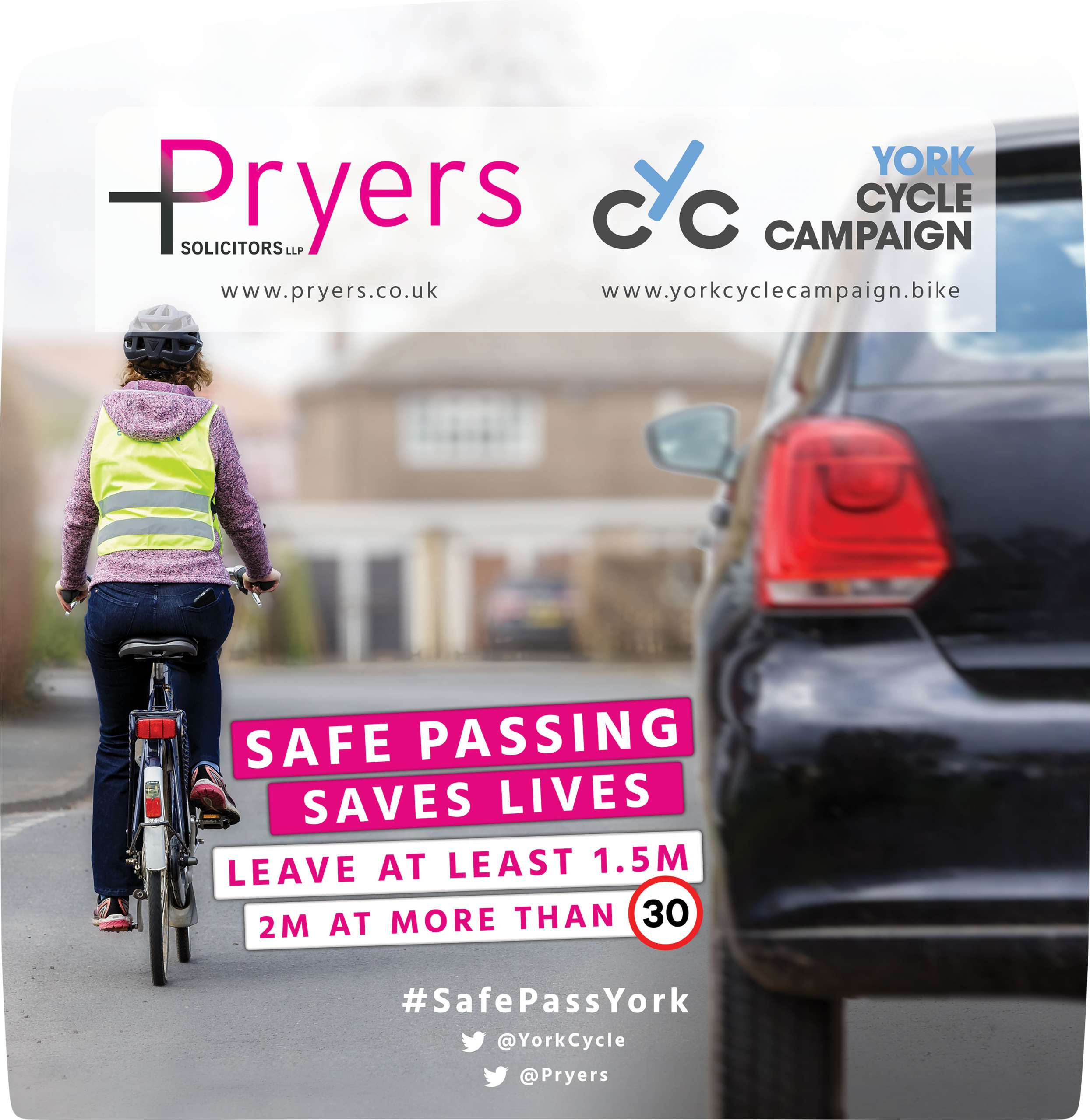 The design featuring in Pryers Solicitors ad York Cycle Campaigns safe passing campaign.