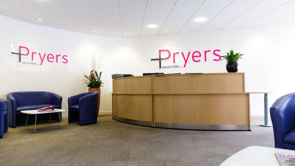 A photograph of the reception area in Pryers Solicitors' office in the center of York.