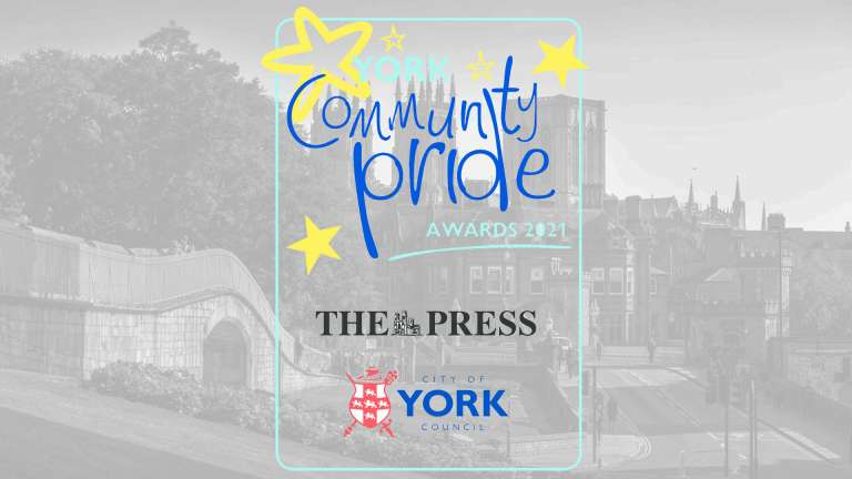 A photograph in York, with the Community Pride Awards logo