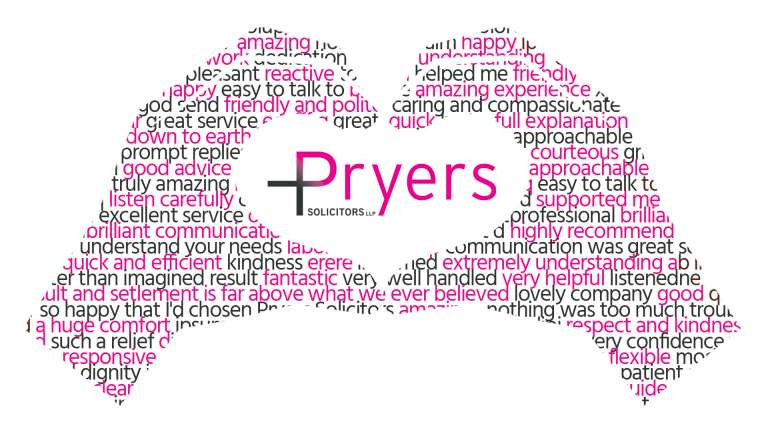 Pryers Solicitors' Logo between two hands, made up of testimonials from clients