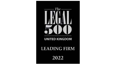 The logo to show that Pryers Solicitors are listed as a 'Leading Firm' in the 2022 edition of The Legal 500.